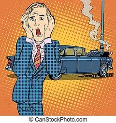 hombre, pánico, accidente de coche