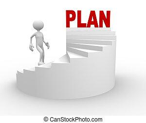hombre, palabra, plan, escalera, 3d
