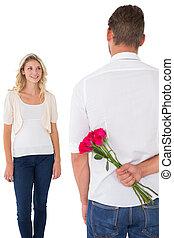 hombre, paliza, ramo de rosas, de, mujer joven