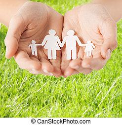 hombre, papel, hembra, familia , manos