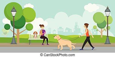 hombre, parque, mujer, mascotas