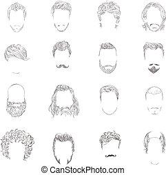hombre, peinado, conjunto