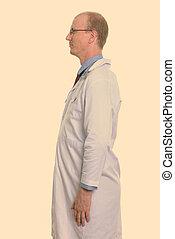 hombre, perfil, posición, vista, doctor