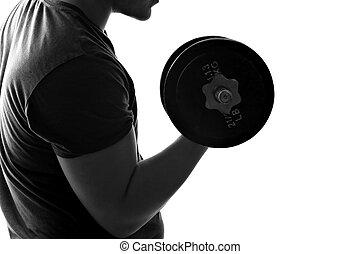 hombre, pesas, elevación