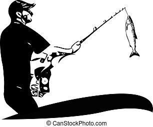 hombre pesca, de, el, barco
