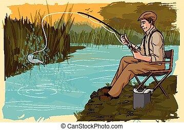 hombre pesca, retro, río