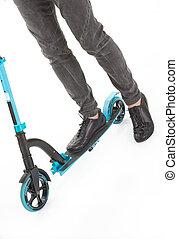 hombre, piernas, en, push-cycle