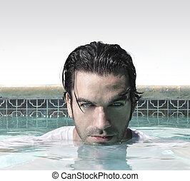 hombre, piscina, cara