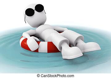 hombre, piscina, relajante, 3d