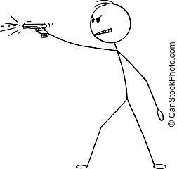 hombre, pistola, o, disparando, ilustración, arma, caricatura, pistola, vector, enojado, arma de fuego