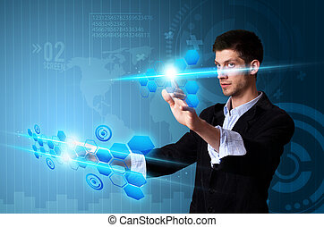 hombre, planchado, moderno, pantalla del tacto, botones, con, un, azul, tecnología, plano de fondo