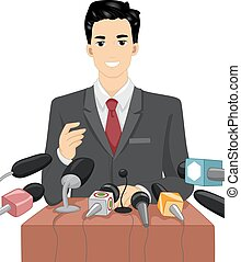 hombre, político, discurso, mics