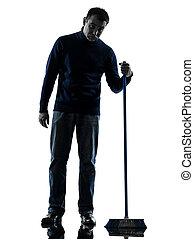 hombre, portero, brooming, limpiador, aburrimiento, silueta, longitud completa