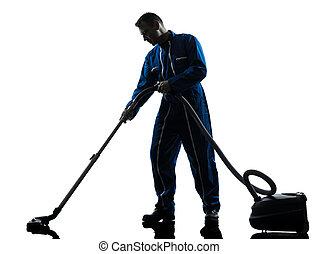 hombre, portero, vaccum, limpiador, limpieza, silueta
