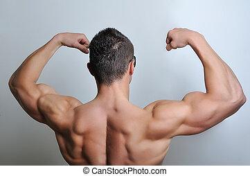 hombre, posar, músculo