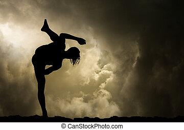 hombre, prácticas, artes marciales, plano de fondo