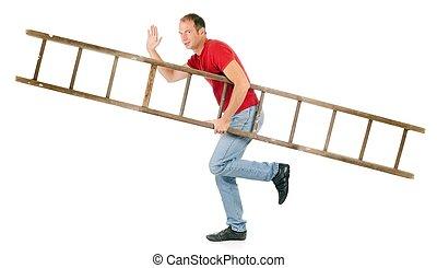 hombre, proceso de llevar, escalera