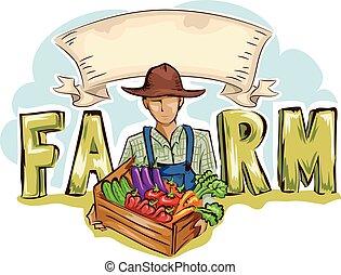 hombre, productos de la granja, bandera de la cinta