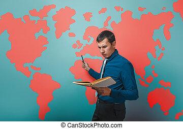 hombre, profesor masculino, profesor, hombre de negocios, sujetar un libro
