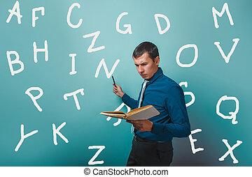 hombre, profesor masculino, sujetar un libro, exposiciones, carta alfabeto, en, infographics