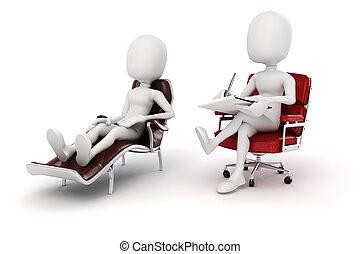hombre, pshychiatrist, 3d, paciente