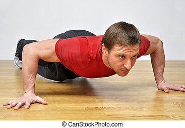 hombre, pushup, ejercicio, condición física