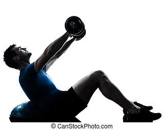 hombre que ejercita, bosu, cargue instrucción, entrenamiento, condición física, postura