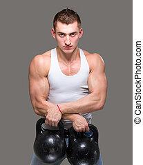 hombre que ejercita, cargue instrucción, entrenamiento, condición física