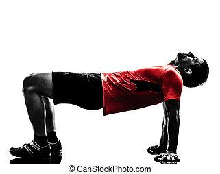hombre que ejercita, tablón, posición, condición física, entrenamiento, silueta