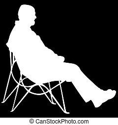 hombre que sienta, en, fondo negro