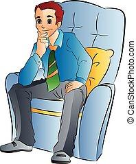 hombre que sienta, en, un, suave, silla, ilustración