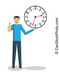 hombre que sostiene el reloj