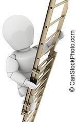 hombre que sube escalera, a, lograr, éxito