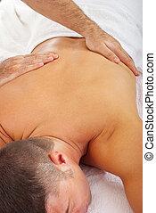 hombre, recibir, balneario, masaje