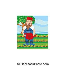 hombre, regar, un, zanahoria, en el jardín
