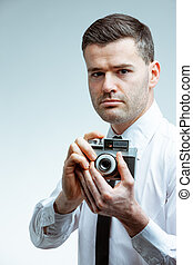 hombre, retrato, cámara, vendimia