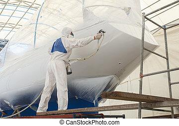 hombre, rociar, pintura, a, el, barco