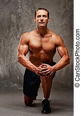 hombre, rodilla, el suyo, muscular, guapo
