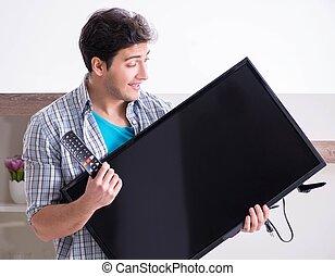 hombre, roto, tratar, televisión, aprieto