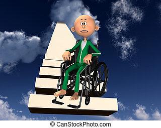 hombre, sílla de ruedas, trastorno