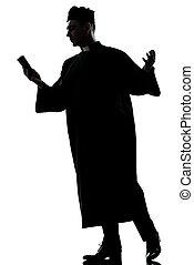 hombre, sacerdote, silueta, lectura, biblia