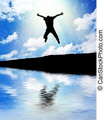 hombre, salto, a, sky.