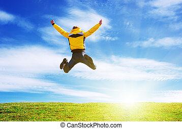 hombre, salto, en, el, verde, meadow.