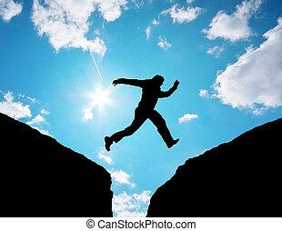hombre, salto