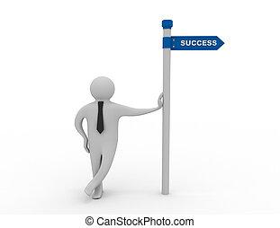 hombre, señal, 3d, éxito, direccional