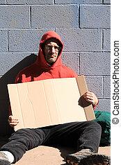 hombre, señal, sin hogar, blanco