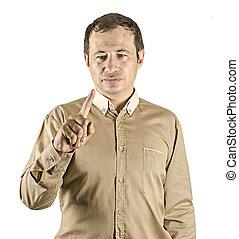 hombre señalar con el dedo, a, virtual, pantalla