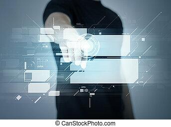 hombre señalar con el dedo, el suyo, dedo, en, virtual, pantalla