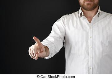 hombre señalar con el dedo, en, algo