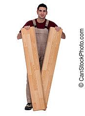 hombre, se paró, con, solado madera